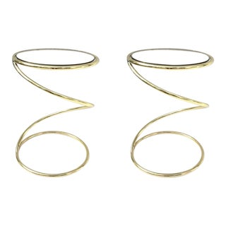 Brass and Bronze Glass Spiral Occasional Tables by Pace Collection - A Pair For Sale