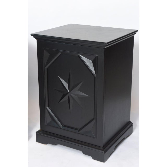 Modern Pair of American Modern Black Lacquer Cabinets For Sale - Image 3 of 8