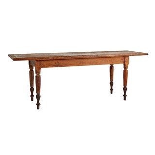 Enormous Turned-leg Mercantile Table W/ Crazed Finish Circa 1880s