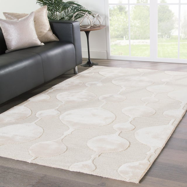 2010s Nikki Chu by Jaipur Living Sui Handmade Geometric Beige/ Cream Area Rug - 8′ × 10′ For Sale - Image 5 of 6