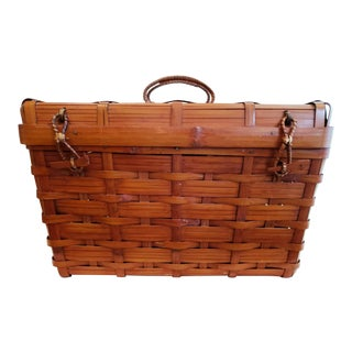 Vintage Japanese Bamboo Woven Basket For Sale