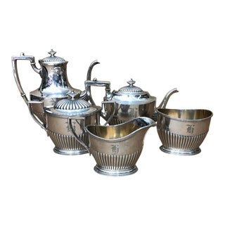 1900s American Gorham n.y. High Quality Silver Plated Tea Set - Set of 5 For Sale