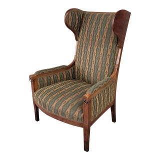 Early 20th Century French Country Provincial Upholstered Maple Wood Wingback Armchair For Sale