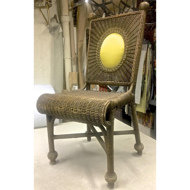 Arts & Crafts Set of 10 Rare 1940s Rattan Dining Chairs in Vintage Condition For Sale - Image 3 of 7