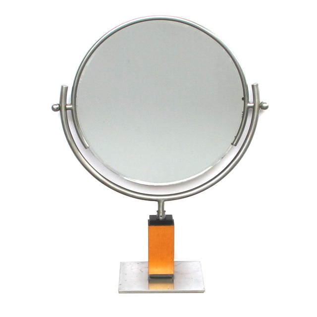 Metal A Chic American Art Deco 1930's Steel Dressing Mirror Raised on a Maplewood Base With Ebonized Highlights For Sale - Image 7 of 7