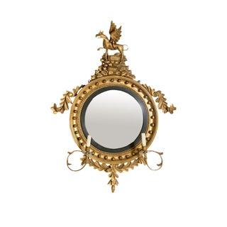 18th Century George III Gilt-Wood Convex Girandole Mirror For Sale
