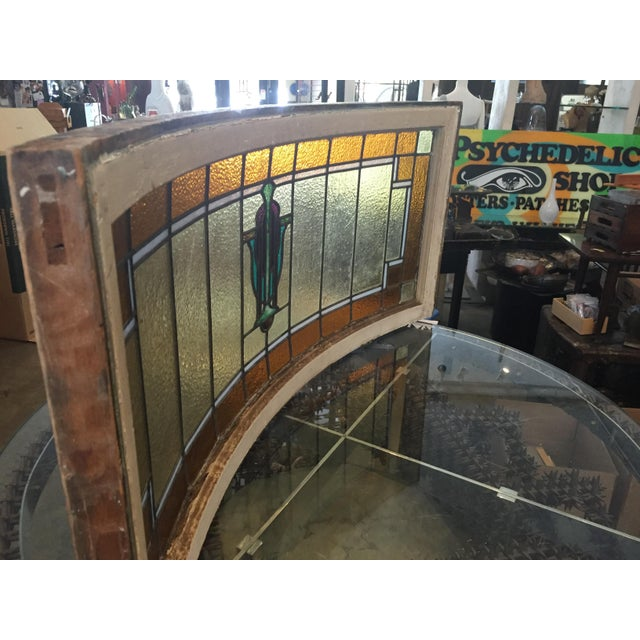 Antique Mission Design Curved Stained Glass Window For Sale - Image 10 of 11