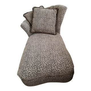 Deco Style Channel Back Leopard Chaise With Pillows For Sale