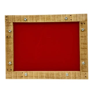 Red Lucite & Pallet-Wood Serving Tray For Sale