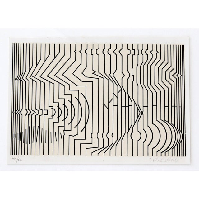 Victor Vasarely Mid-Century Modern Framed Pop Art Print Signed Numbered by Vasarely 460/650 For Sale - Image 4 of 7