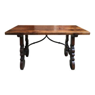 Antique French Walnut Coffee Table Bench Catalan Spanish Iron Country Pegged For Sale