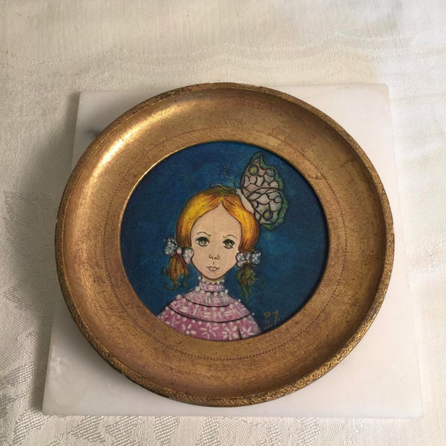 "Vintage 1960s Round Painting in Gilt Frame Signed P. Townsend Painting titled Traveling Companion Measures 5.5"" diameter x..."