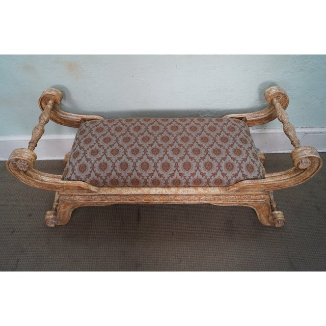 This is a quality crackle painted X-base regency style bench. AGE/COUNTRY OF ORIGIN: Approx. 20 years, America....