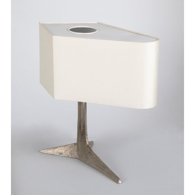 1970s 1970s Brutalist Felix Agostini Clawfoot Nickeled Bronze Lamp For Sale - Image 5 of 5