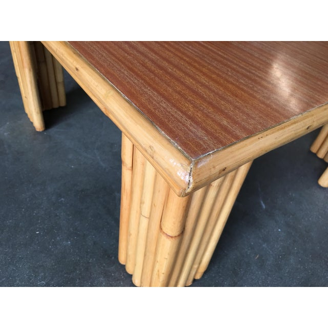 Extra Wide Rattan Coffee Table With Formica Top For Sale - Image 4 of 8