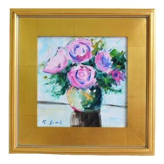 Abstract Lavender Flowers Vase Oil Painting W/ Gold Leaf Frame For Sale