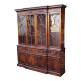 Image of Traditional Mahogany 2 Part Dining Room Breakfront China Cabinet C1930s For Sale