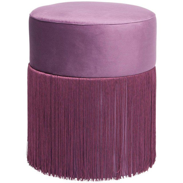New Pouf Pill Purple in Velvet Upholstery With Fringes by Houtique For Sale In Miami - Image 6 of 12