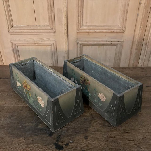 Green Pair French Art Deco Painted Jardinieres / Planter Boxes For Sale - Image 8 of 13