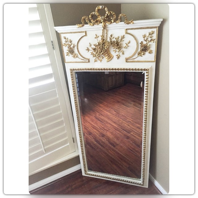French White & Gilt Trumeau Mirror - Image 3 of 11