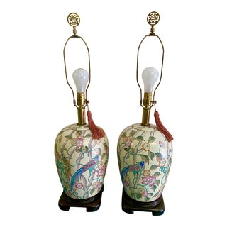 Large Chinoiserie Ginger Jar Lamps With Exotic Birds. - a Pair For Sale