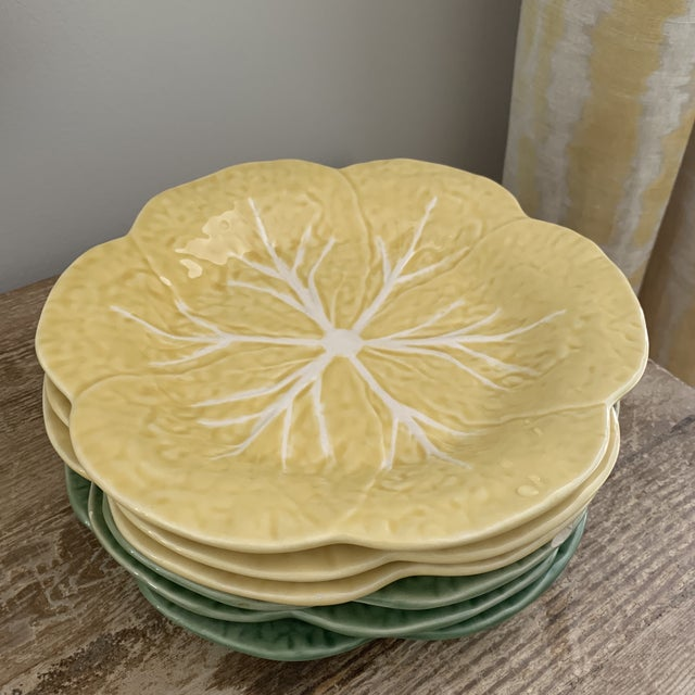 Bordallo Pinheiro Yellow and Green Ceramic Cabbage Plates - Set of 6 For Sale - Image 9 of 9