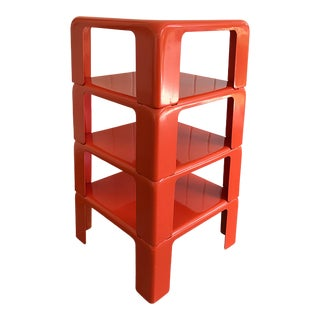 1960s Mid Century Modern Mario Bellini Red Fiberglass Stacking Tables - Set of 4