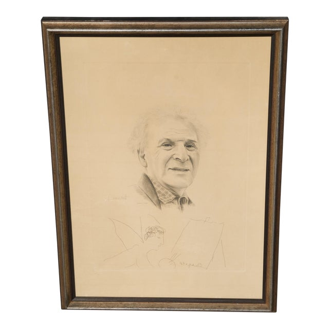 Mid 20th Century Engraving of Marc Chagall by Jacques Combet With Chagall Sketch For Sale