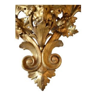 19th Century Wall Shelf Console, Hand-Carved and Gilded, Faux Marble Top For Sale