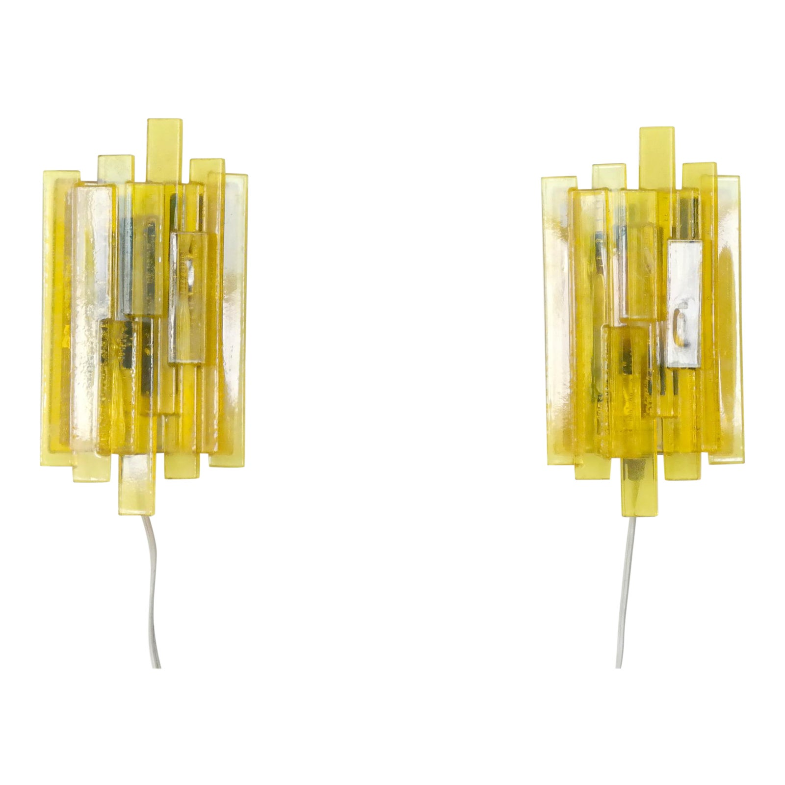Danish Mid Century Space Age Yellow Acrylic Wall Sconces By Claus Bolby A Pair The Transistor In Of Electronics Chairish