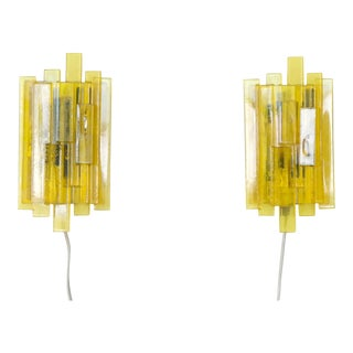 Danish Mid Century Space Age Yellow Acrylic Wall Sconces by Claus Bolby - a Pair