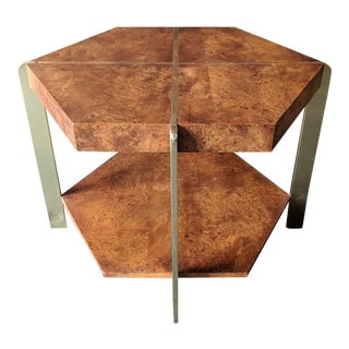 Vintage 1970's Hexagon Burl and Brass Side Table by Hekman Furniture