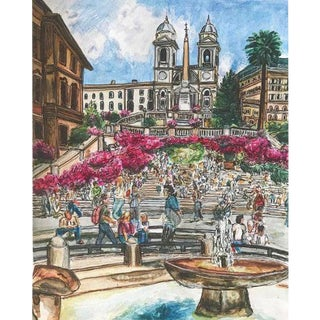 'Rome, I Can't Quit You' Sophie Hoad Halma Original Watercolor & Ink Painting For Sale
