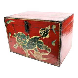 20th Century Chinese Hand Painted Red Lacquer Foo Dog Chest For Sale