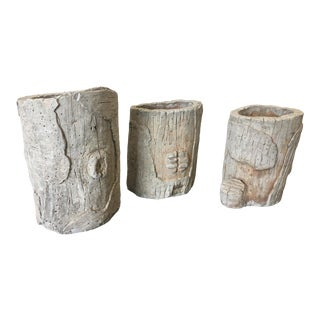 French Faux Bois Cast Stone Planters - Set of 3 For Sale