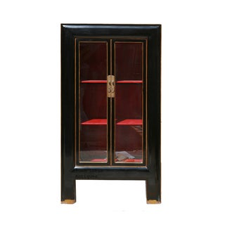 Black & Red Lacquer Glass Door Display Bookcase For Sale