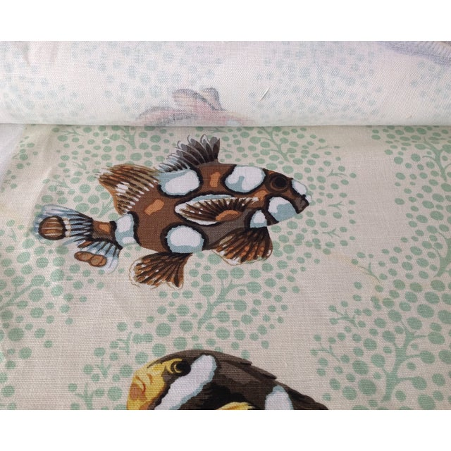 """Grey Watkins """"Barbuda"""" Fish Linen Textile - 4 1/3 Yds. For Sale In West Palm - Image 6 of 12"""