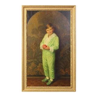 Portrait of Boy in Green For Sale