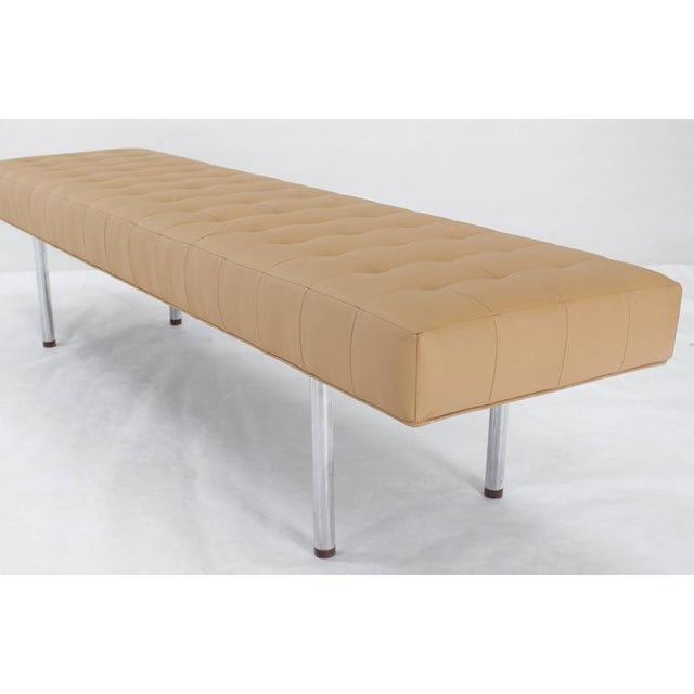 Mid-Century Modern Tufted Upholstery Long Bench on Chrome Cylinder Legs Daybed For Sale - Image 3 of 7