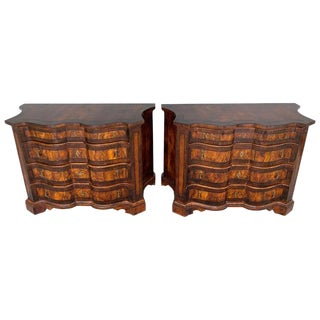 Stunning Pair of Georgian Style Burlwood Serpentine Chests For Sale