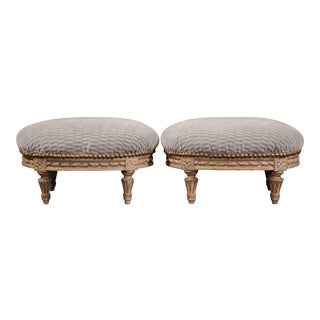 Pair of French Louis XVI Carved Painted Oval Footstools with Blue Velvet Fabric