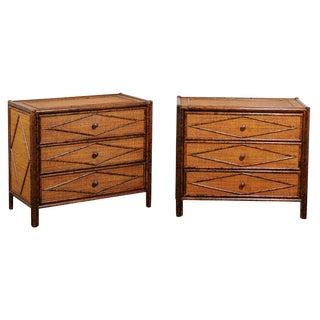 Beautiful Restored Pair of Tortoiseshell Bamboo and Cane Chests, Circa 1980 For Sale