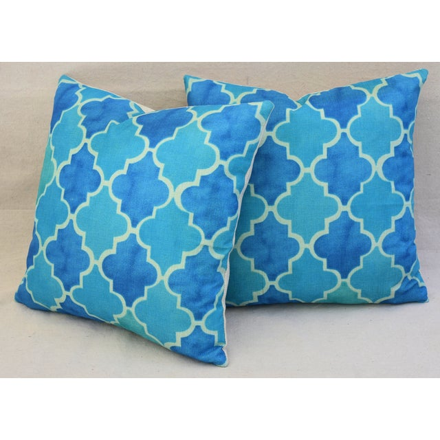 BoHo Chic Moroccan Tiles Linen Feather/Down Pillows - Pair - Image 10 of 11
