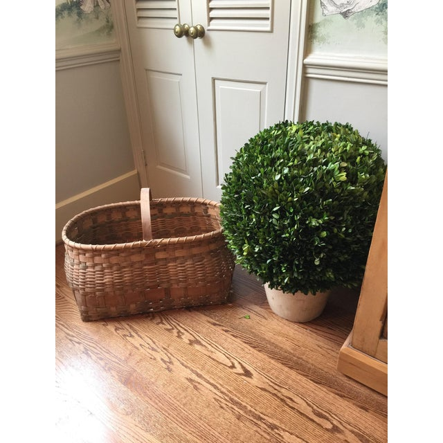 Antique Wicker Basket with Handle For Sale - Image 10 of 11