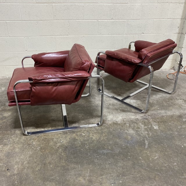 Mid Century Chrome Leather Club Chairs For Sale - Image 10 of 12