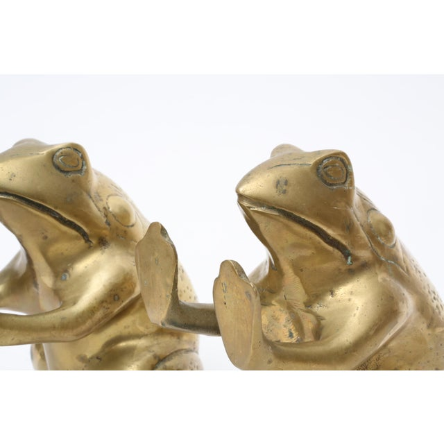 Vintage Brass Frog Bookends - A Pair For Sale - Image 4 of 5