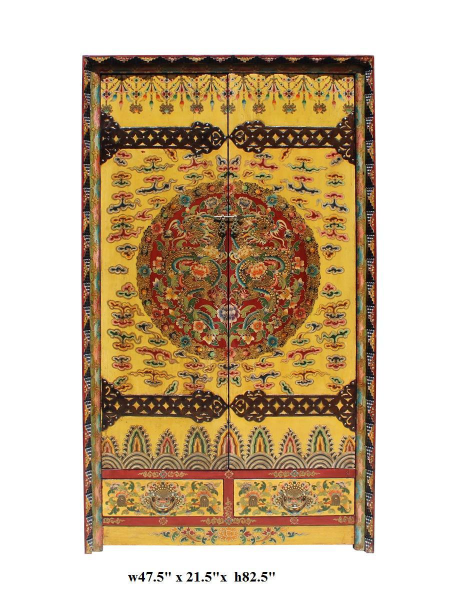 Chinese Tibetan Dragon Flower Armorie Wardrobe Cabinet   Image 7 Of 7