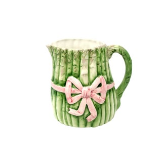 Vintage Italian Majolica Ceramic Asparagus With Pink Ribbon Pitcher