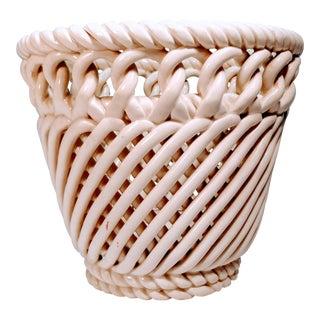 Vintage Porcelain Basket Weave Planter