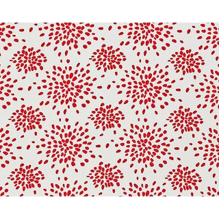 Hinson for the House of Scalamandre Fireworks Fabric in Red on White